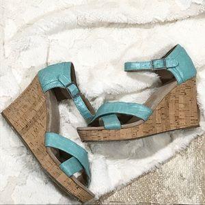 Aqua Shimmery Wedge Sandals